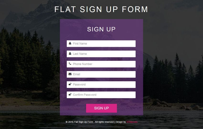 A sign up form for every creator. Flat Sign Up Form Responsive Widget Template