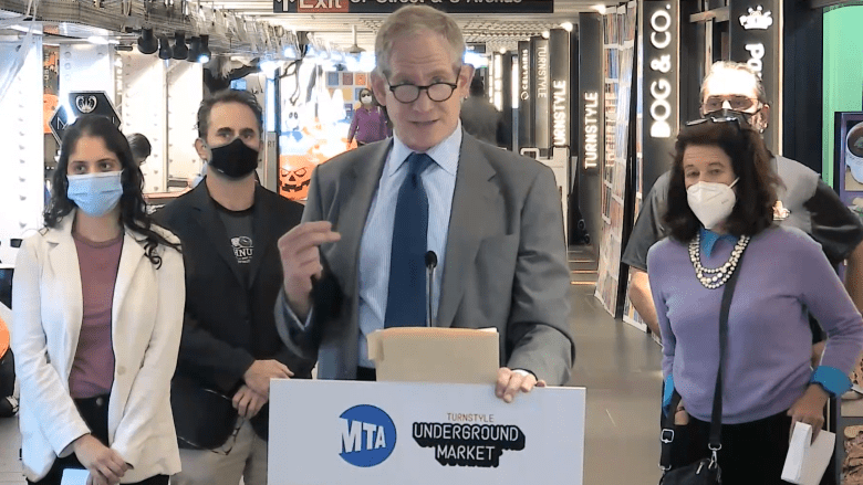 Janno Lieber, President of MTA Construction & Development speaking at today's Press Conference at Turnstyle Underground Market