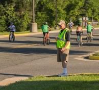 Wayne on Goerge Mason Circle keeping the bikes in sight