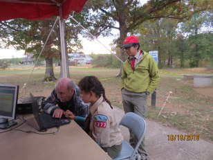 John, KG4NXT , helping scout make FT8 contact