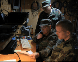 Members of the Virginia Defense Force operating a mobile command post.