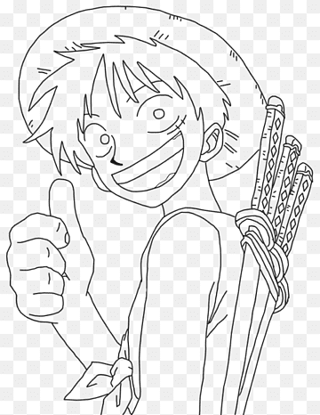 How to draw luffy with color penchil? Line Art Monkey D Luffy Portgas D Ace Roronoa Zoro Drawing One Piece Angle White Face Png Pngwing