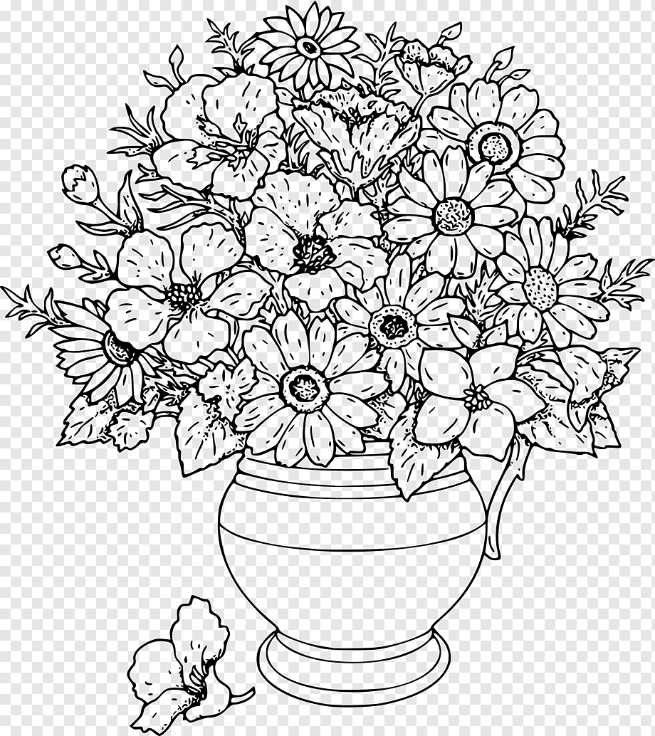 Coloring Pages Adults Coloring Pages Flowers Coloring Book For Kids Flowers Coloring Book For Kids Flower Flower Arranging White Child Png Pngwing