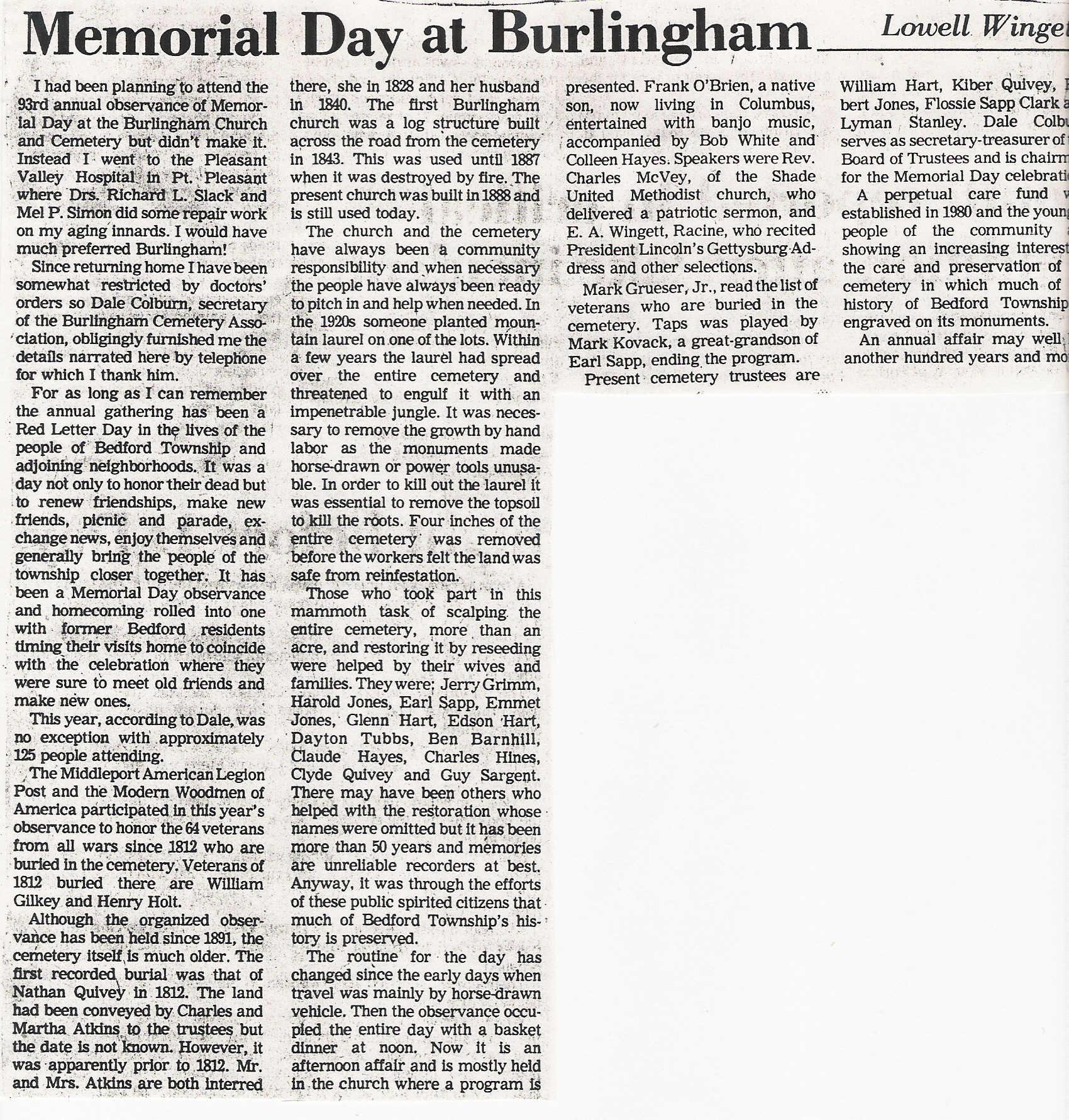 Burlingham Ohio Church Amp Cemetery