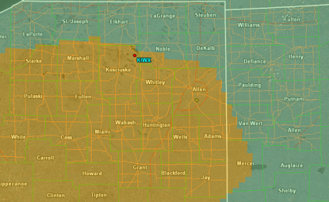Map of northeastern Indiana and northwestern Ohio, showing slight risk area from convective outlook