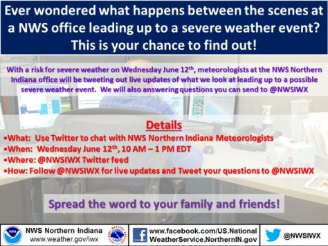 Infographic with details about planned NWS Twitter chat. See text below.