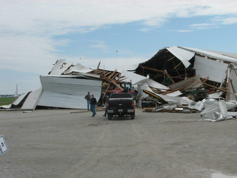 NWS photo of June 13, 2013 straight-line wind damage to farm buildings near Wabash, Indiana