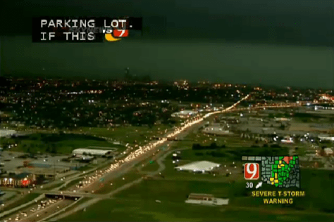 Aerial view of traffic jam caused by people attempting to flee May 31, 2013 tornadoes near Oklahoma City