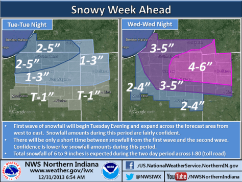 Snowfall forecast maps from NWS.