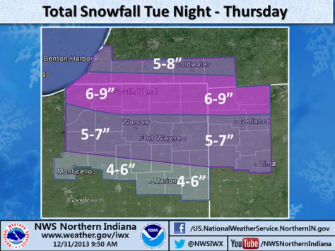 NWS map showing total snowfall forecast for Tuesday night through Thursday