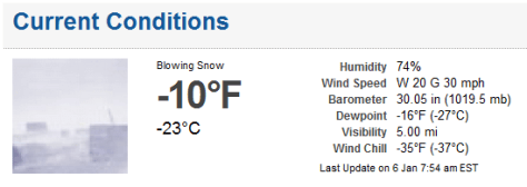 Screen shot of current conditions as of 7:54 a.m.