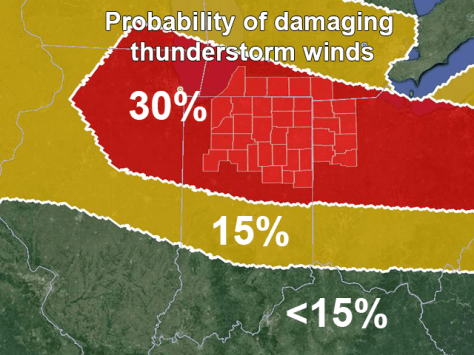 Damaging wind probability map from 1300Z Day 1 Convective Outlook