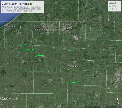 Map showing patchs off 11 July 1 tornadoes