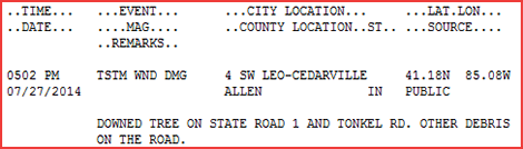 Example local storm report