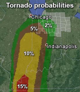2000Z Day 1 Convective outlook tornado probabilities map