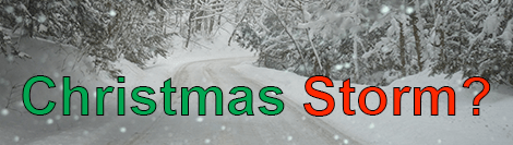 "Snowy road with words ""Christmas Storm"" superimposed"