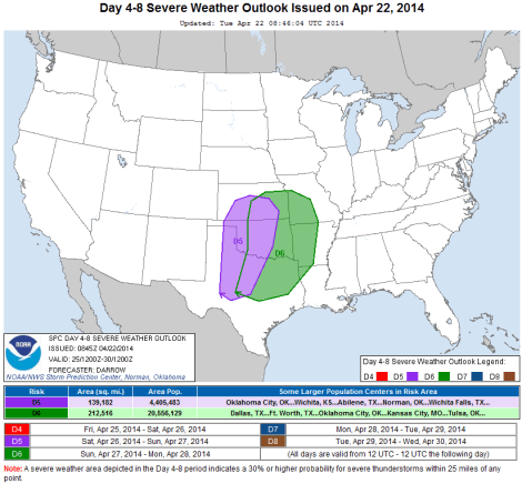 Day 4-8 convective outlook from April 22, 1014 for Indiana Severe Weather Preparedness Week