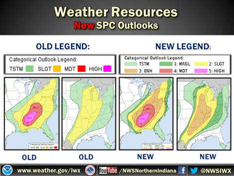 "Categorical convective outlooks have new categories between ""general thunderstorms"" and ""moderate risk"""