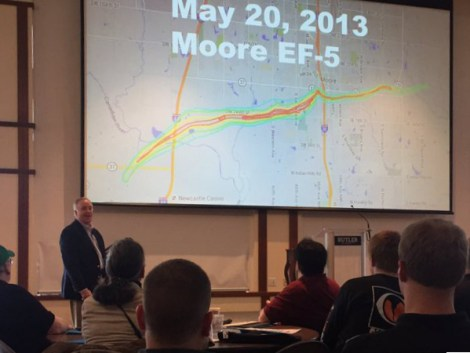 At the 2016 Central Indiana Severe Weather Summit, well-known storm chaser Jeff Piotrowski discusses how he chased the 2013 El Reno, Oklahoma tornado. Photo from Twitter by Kalie Pluchel (@KaliePluchelWX).