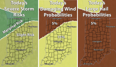 "Indiana maps shoring risk and probabilities of severe weather in Indiana today. Source: SPC ""Day 1 Convective Outlook"" issued at 12:40 p.m. EDT"
