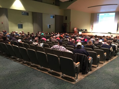 135 people attend SKYWARN storm spotter training presented Feb. 21, 2017 by meteorologists from the Northern Indiana National Weather Service office at the Public Safety Academy in Fort Wayne, Indiana.