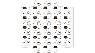 おばけ&黒猫のポップな柄のポチ袋
