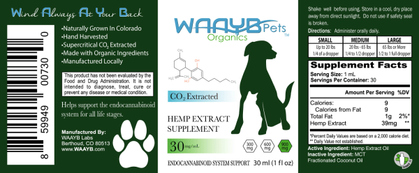 WAAYB Organics 900mg Hemp Extract oil for pet