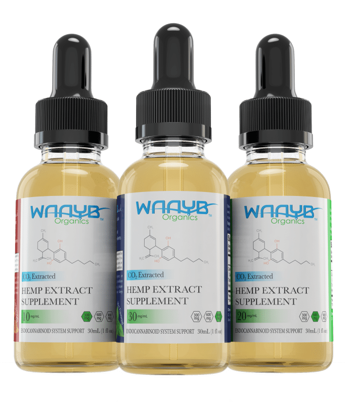 All Three flavors and strengths of WAAYB Organics Hemp Extract Oil