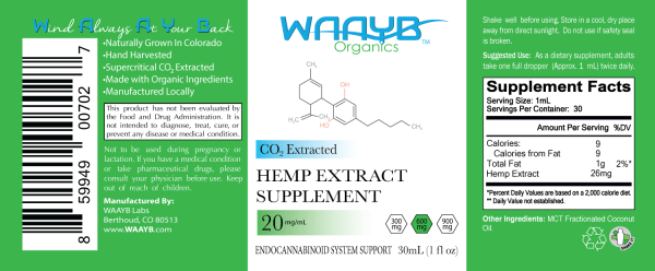 WAAYB Organics Flavorless 600mg Hemp Extract Oil