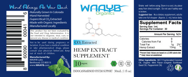 WAAYB Organics 300mg Mint Hemp Extract Oil