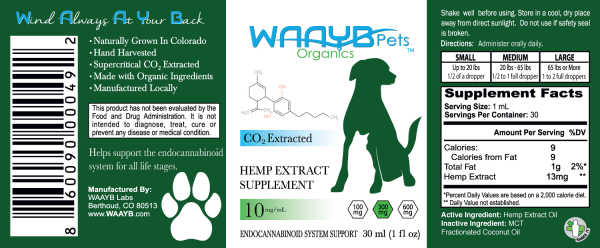 WAAYB Organics 300mg Hemp Extract for Pets