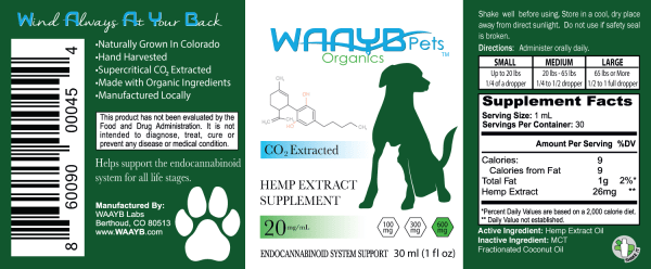 WAAYB Organics 600mg Hemp Extract for Pets