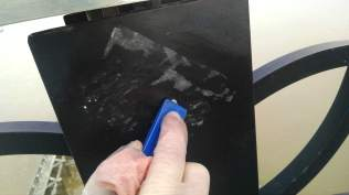 Tire levers work as a sticker scraper in a pinch