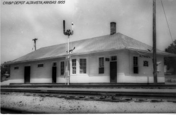 This real photo postcard view of the CRI&P depot at Alta Vista, Kansas is dated 1955.