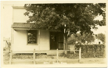 The Dover State Bank was located on Southwest Douglas Road in Dover, Kansas, next door to Winter's store. Photo Courtesy Greg Hoots.