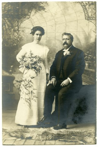 This wedding photo of Gus and Mary Wetzel Meier was taken on November 27, 1912.