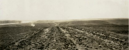 Louis Palenske created this panoramic view of the Santa Fe Trail ruts seen ten miles west of Dodge City, Kansas in 1928.