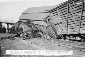 Cattle cars derailed at Alta Vista in 1908, causing considerable damage. The Alta Vista viaduct is visible in the background.