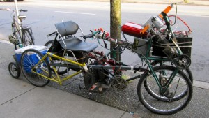 Bicycle with extreme modifications for getaway from the zombie apocalypse