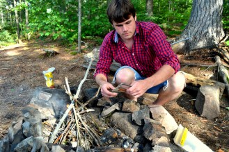 Andrew building a fire for us in Killarney