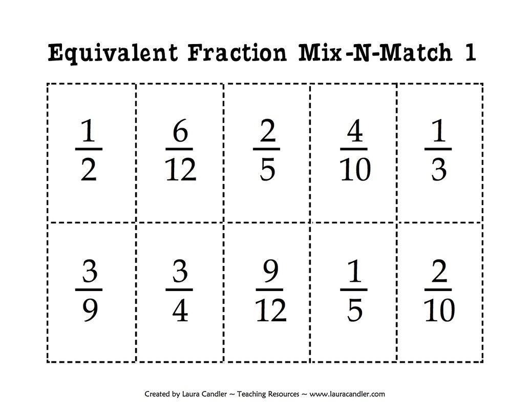 2 Equivalent Fractions Mix And Match