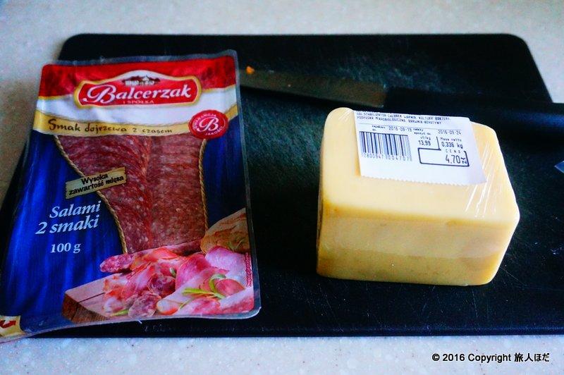 今回使用したチーズとサラミ
