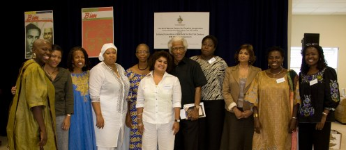 Caribbean writers from left: Jamaica's Carolyn Cooper, Trinidad's Danielle Boodoo-Fortune, Bermuda's Angela Barry, Barbados' Dana Gilkes, Barbados' Esther Phillips, Trinidad's Ramabai Espinet, Caribbean literary giant George Lamming, Antigua's Joanne C. Hillhouse (that's me), Trinidad's Patricia Mohammad, Barbados' Margaret Gill, and Curdella Forbes of Jamaica.