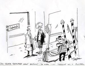 Wie weit das Hochwasser in Werden kommen kann, damit beschäftigt sich der Leitartikel dieser Ausgabe, dazu hier eine gut zwei Jahrehnte alte Karikatur von Thomas Plaßmann. Der Stil hat sich noch weiter entwickelt, aber der Humor war immer schon großartig.