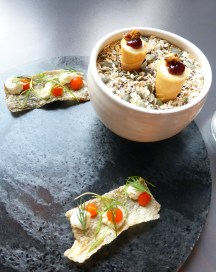 Goat's cheese cornetto with sour cherry & savoury granola + crispy cod skin with whipped salt cod, red pepper & dill