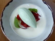 Elderflower pannacotta with strawberries & a cucumber & lime sorbet