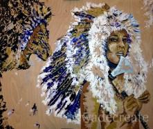 """unafraid. 44x40"""" acrylic, silver leaf, feathers on wood ($1,200)"""