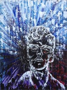 "see through the bravado - 48x60"" acrylic on wood, $1,800"
