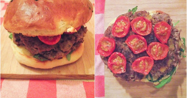 Burgers agneau / abricots et tomates roties & comfort food
