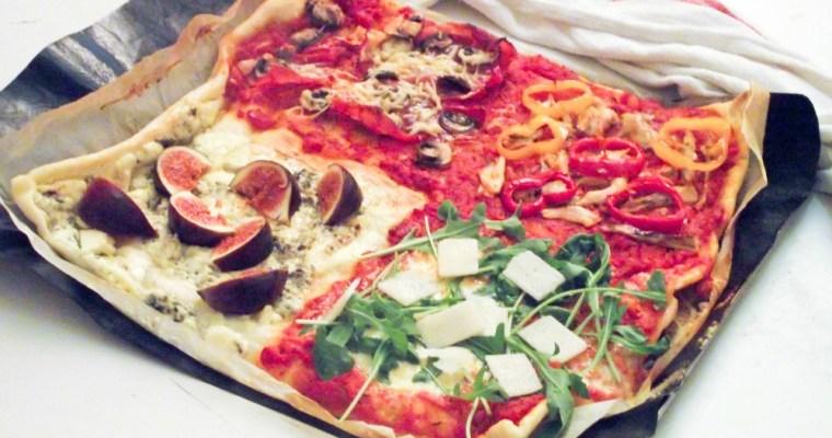 La pizza des indécis ou pizza quatre-quarts… parce que choisir, c'est renoncer !
